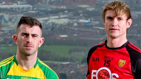 Donegal's Patrick McBrearty and Caolan Mooney of Down