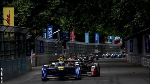 Action from the 2016 Formula E race around London's Battersea Park