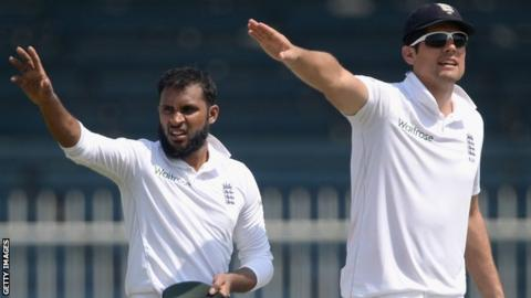 Adil Rashid and Alastair Cook