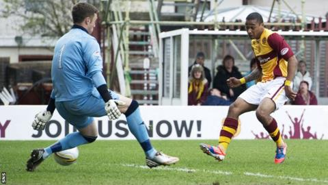 Chris Humphrey scores for Motherwell against Ross County