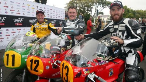 Isle of Man Classic TT 500cc winner Dean Harrison flanked by runner-up Ian Lougher and Lee Johnston who was third