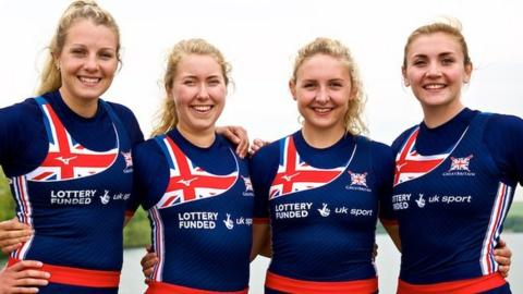 Holly Nixon (right) with her Great Britain quadruple sculls team-mates