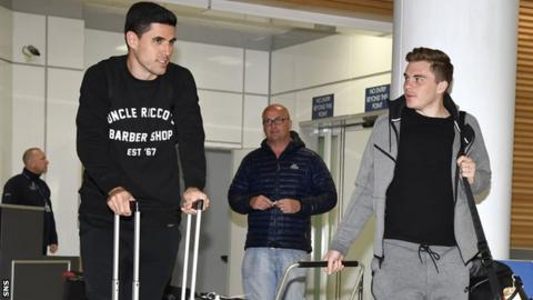 Celtic players Tom Rogic and James Forrest