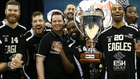 The Newcastle Eagles celebrate winning the BBL Cup for the fourth time
