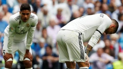 Real Madrid's Raphael Varane (left) and Sergio Ramos