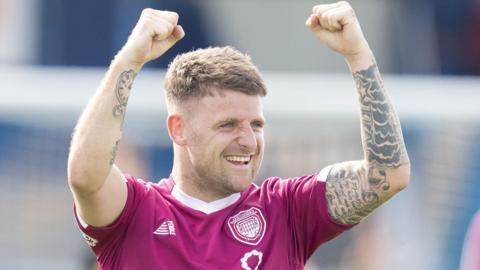 Bobby Linn celebrates scoring for Arbroath