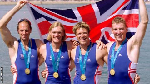 Team GB's gold medal-winning coxless four from the Sydney 2000 Olympics