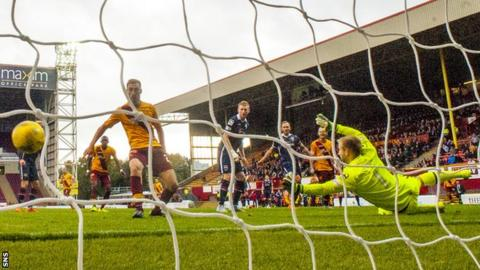 Louis Moult scores for Motherwell against Ross County