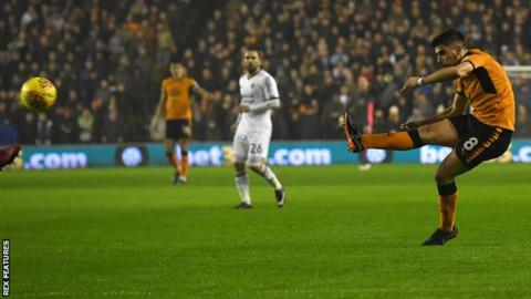 Ruben Neves opens the scoring for Wolves against Sheffield United