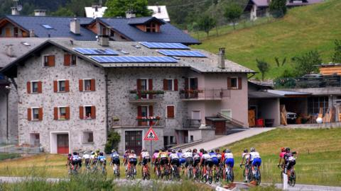 VALFUVA, ITALY - JULY 09: Peloton / Aquilone Village / Caravan / Landscape / during the 30th Tour of Italy 2019 - Women, Stage 5 a 100,7km stage from Ponte in Valtellina to Passo Gavia - Valfurva (2652m) / Giro Rosa / #GiroRosa / @GiroRosaIccrea / on July 09, 2019 in Valfurva, Italy. (Photo by Luc Claessen/Getty Images)