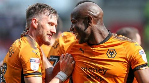 Barry Douglas and Benik Afobe celebrate for Wolves