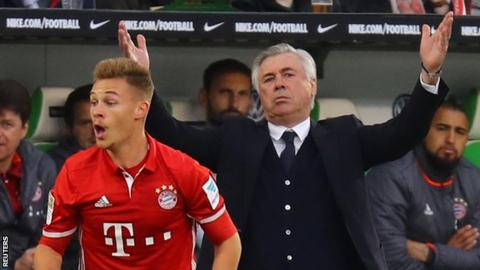 Joshua Kimmich (left) and Carlo Ancelotti (right)