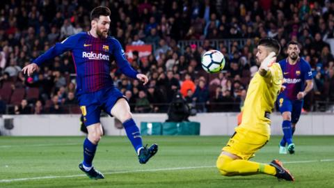 Lionel Messi of Barcelona in action