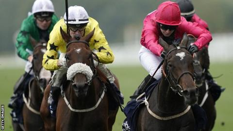 Hayley Turner riding Sapa Inca (pink) win The Dubai Duty Free Shergar Cup Classic during the Dubai Duty Free Shergar Cup at Ascot Racecourse on August 10, 2019 in Ascot, England