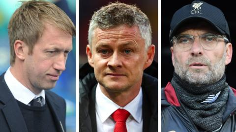Brighton manager Graham Potter, Man Utd manager Ole Gunnar Solskjaer and Liverpool manager Jurgen Klopp