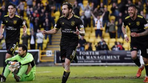 Livingston's Scott Pittman celebrates his goal to make it 2-1