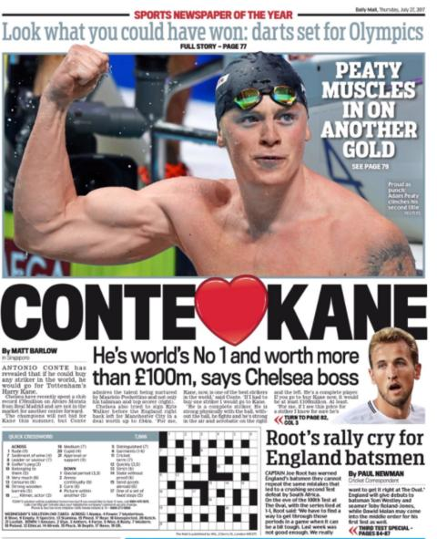 The Daily Mail back page on Thursday