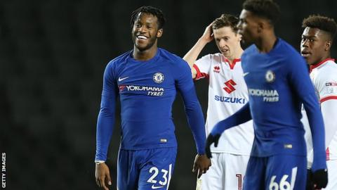 Michy Batshuayi celebrates scoring for Chelsea's under-21 side in the Checkatrade Trophy
