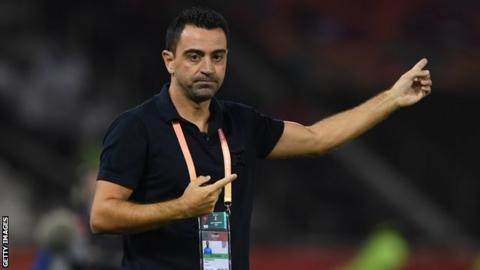Former Barcelona and Spain midfielder Xavi directs his Qatari side Al Sadd from the touchline