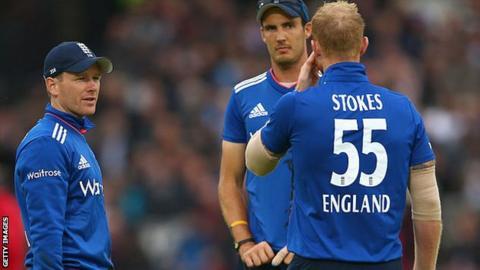 England's Eoin Morgan, Steven Finn and Ben Stokes