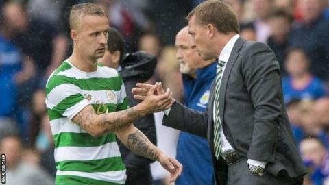 Brendan Rodgers and Leigh Griffiths at Windsor Park
