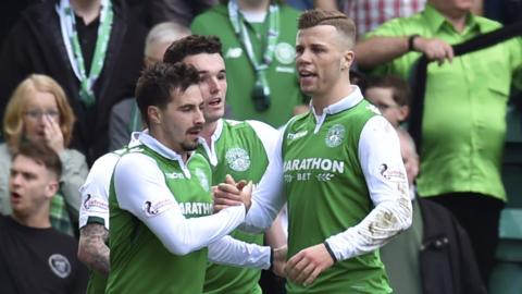 Hibs players celebrate against Celtic