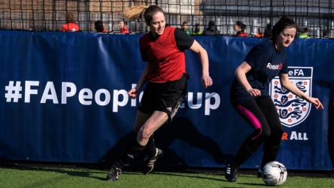 Adult females playing in the FA People's Cup