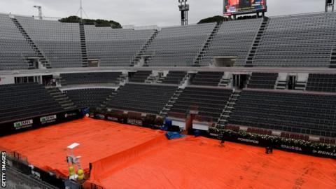 A wet scene at the Italian Open on Wednesday