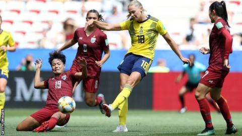 Fridolina Rolfo shoots from range to add Sweden's third goal against Thailand