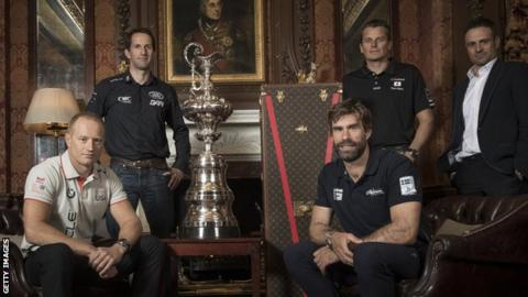 Sir Ben Ainslie, skipper of LandRover BAR, Franck Cammas, skipper of Groupama Team France, Dean Barker, skipper of SoftBank Team Japan, Iain Percy, skipper of Artemis Racing, Jimmy Spithill, skipper of Oracle Team USA and Martin Whitmarsh, CEO of LandRover BAR