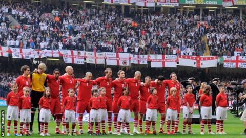 Wales line up before facing England at Cardiff's showpiece venue in 2011