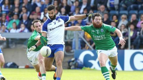 Monaghan's Neil McAdam comes up against Fermanagh pair Paul McCusker and Ciaran Flaherty