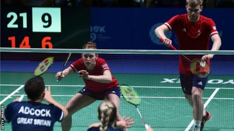 Marcus Ellis and Lauren Smith on the way to beating Great Britain team-mates Chris and Gabby Adcock in the mixed doubles final at the European Games