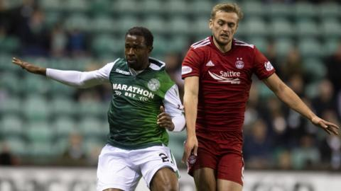 Hibs' Efe Ambrose and Aberdeen's James Wilson