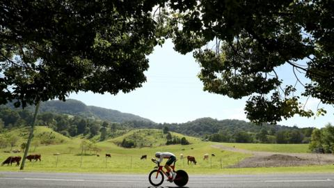 Harry Tanfield of England competes during the cycling time trial on day six of the Gold Coast 2018 Commonwealth Games at Currumbin Beachfront on April 10, 2018 on the Gold Coast, Australi