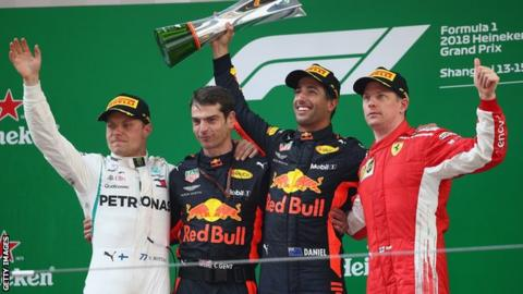 Daniel Ricciardo on Chinese Grand Prix podium