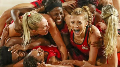 England netball celebrate winning Commonwealth Games gold