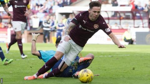 Sam Nicholson wins a penalty for Hearts