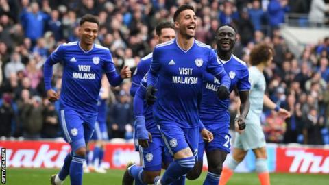 Victor Camarasa celebrates after scoring for Cardiff City during his loan spell last season