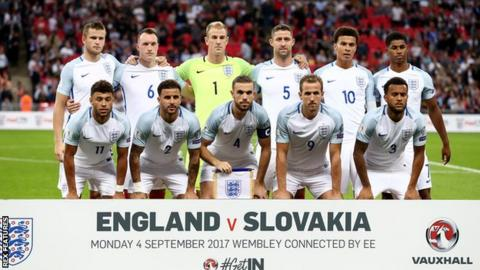England team that started the game against Slovakia