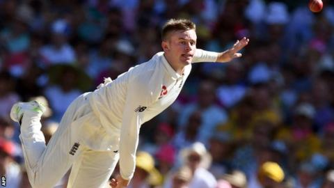 England leg-spinner Mason Crane bowling to Australia during the Fifth Ashes Test in Sydney