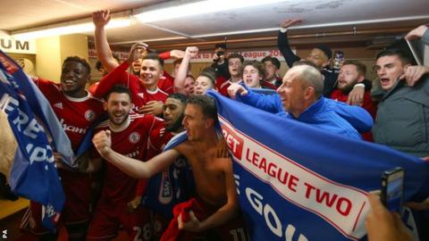 Accrington Stanley celebrate after being promoted