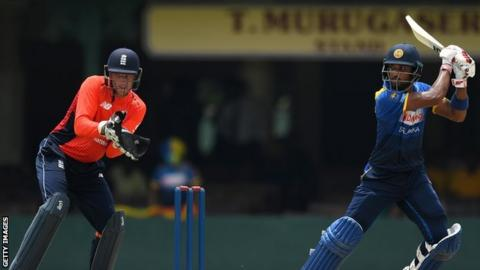 Jos Buttler in action against Dinesh Chandimal
