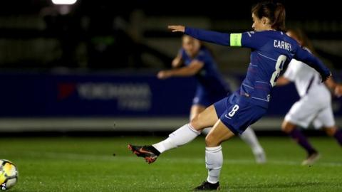 Karen Carney's eighth-minute penalty for Chelsea Women proved the only goal of the game in Kingston