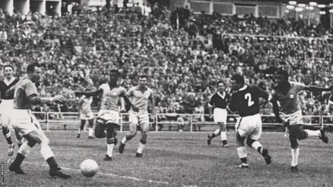 Jimmy Murphy's side put up a brave fight against eventual winners Brazil in Gothenburg, by were beaten by a goal from 17-year-old Pele.