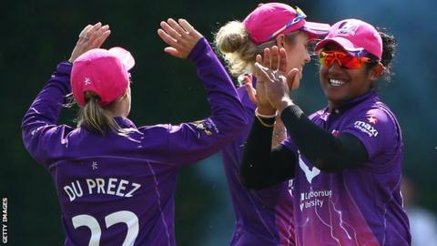 Loughborough Lightning celebrate a wicket against Surrey Stars