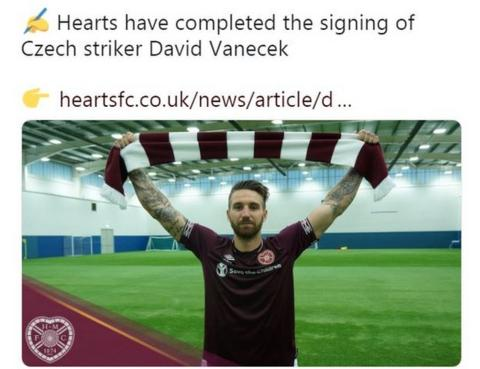 Hearts tweet about David Vanecek's arrival