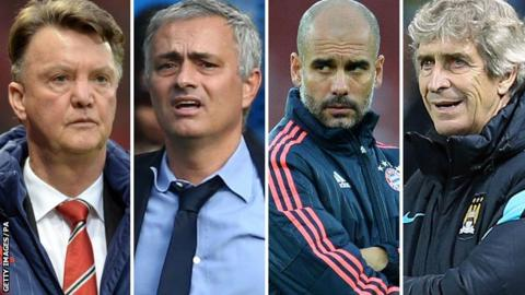 Louis Van Gaal, Jose Mourinho, Pep Guardiola and Manuel Pellegrini