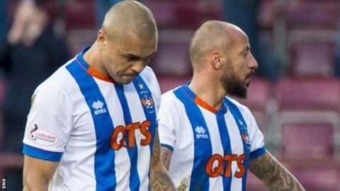 Kilmarnock striker Josh Magennis and Julien Faubert