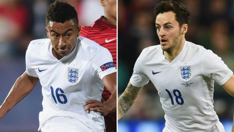 Jesse Lingard and Ryan Mason playing for England Under-21s and England
